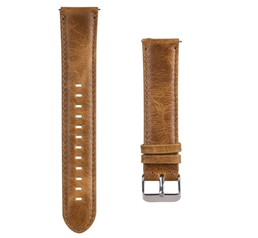 Strap-it® Garmin Vivoactive 4 leren band - 45mm - bruin
