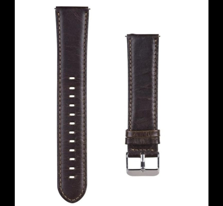 Strap-it® Garmin Vivoactive 4 leren band - 45mm - donkerbruin