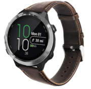 Strap-it® Garmin Vivoactive 4 leren band - 45mm - donkerbruin