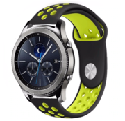 Strap-it® Samsung Gear S3 sport band (zwart/geel)