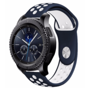 Strap-it® Samsung Gear S3 sport band (blauw/wit)