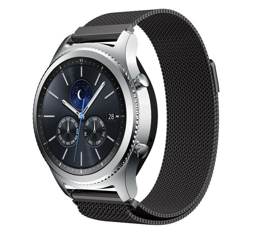 Strap-it® Samsung Gear S3 Milanese band (zwart)