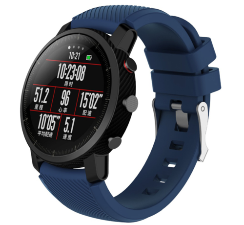 Strap-it® Strap-it® Xiaomi Amazfit Pace silicone band (donkerblauw)