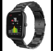 Strap-it® Xiaomi Amazfit GTS stalen band (zwart)