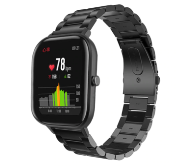 Strap-it® Strap-it® Xiaomi Amazfit GTS stalen band (zwart)