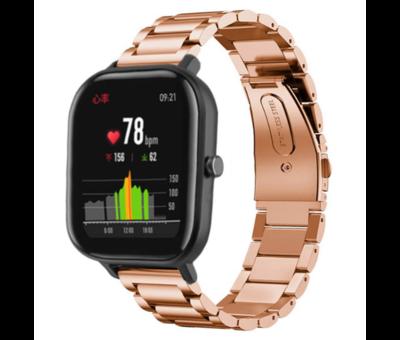 Strap-it® Strap-it® Xiaomi Amazfit GTS stalen band (rosé goud)
