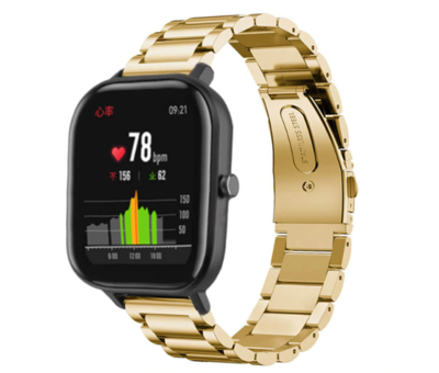 Strap-it® Strap-it® Xiaomi Amazfit GTS stalen band (goud)