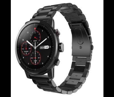 Strap-it® Strap-it® Xiaomi Amazfit Stratos stalen band (zwart)