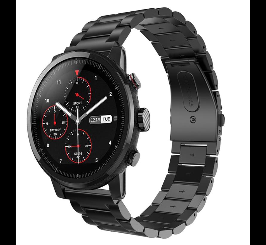 Strap-it® Xiaomi Amazfit Stratos stalen band (zwart)