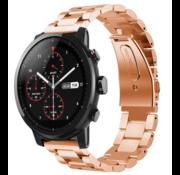 Strap-it® Xiaomi Amazfit Stratos stalen band (rosé goud)