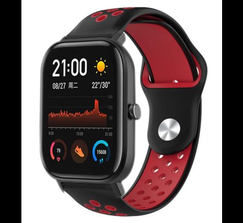 Strap-it® Strap-it® Xiaomi Amazfit GTS sport band (zwart/rood)