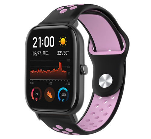 Strap-it® Strap-it® Xiaomi Amazfit GTS sport band (zwart/roze)