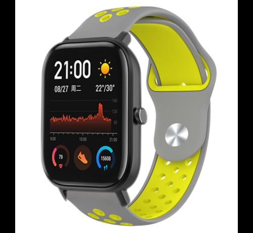 Strap-it® Strap-it® Xiaomi Amazfit GTS sport band (grijs/geel)