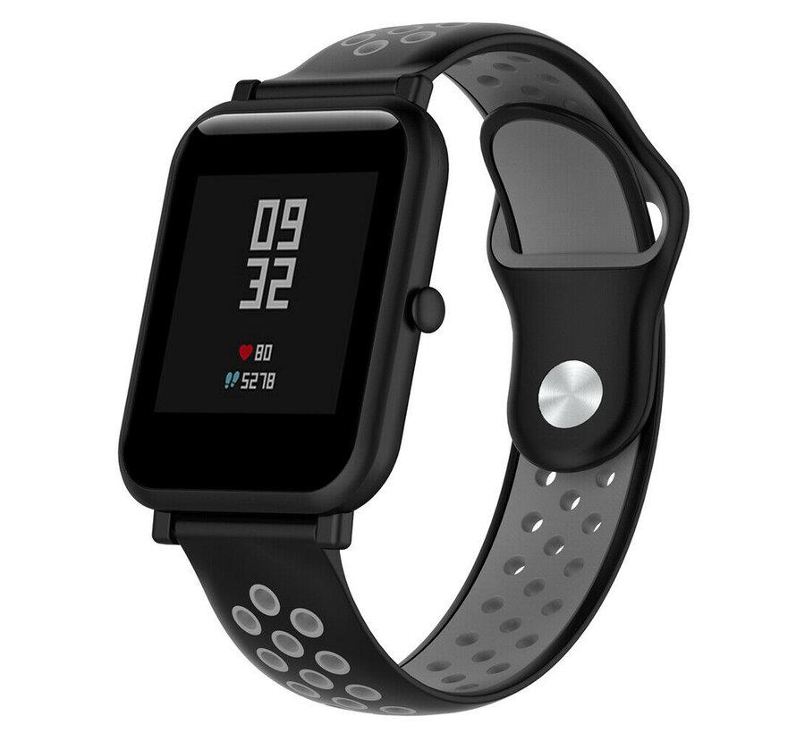 Strap-it® Xiaomi Amazfit Bip sport band (zwart/grijs)
