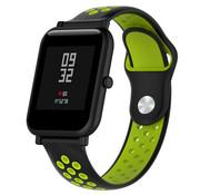 Strap-it® Xiaomi Amazfit Bip sport band (zwart/geel)