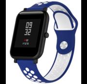 Strap-it® Xiaomi Amazfit Bip sport band (blauw/wit)