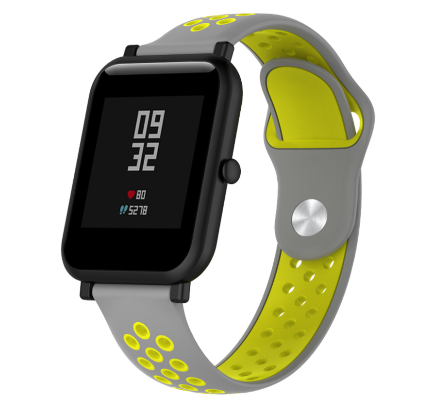 Strap-it® Xiaomi Amazfit Bip sport band (grijs/geel)