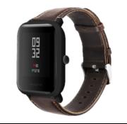 Strap-it® Xiaomi Amazfit Bip leren bandje (donkebruin)