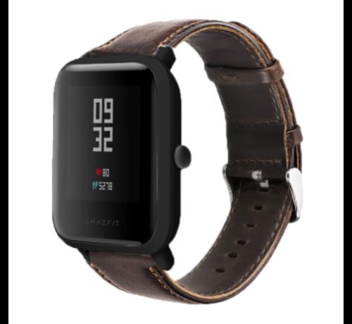 Strap-it® Strap-it® Xiaomi Amazfit Bip leren bandje (donkerbruin)