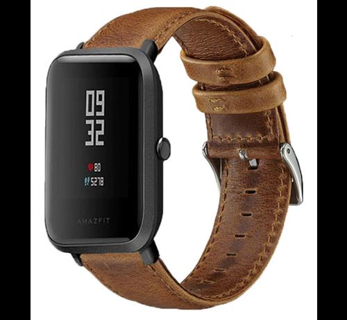 Strap-it® Strap-it® Xiaomi Amazfit Bip leren bandje (bruin)