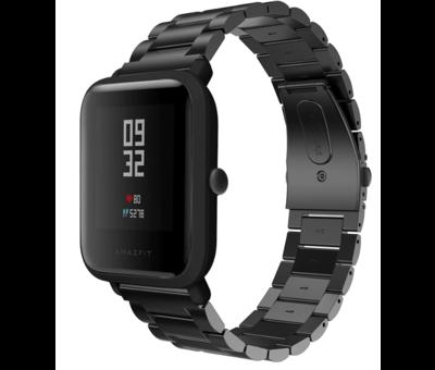 Strap-it® Strap-it® Xiaomi Amazfit Bip stalen band (zwart)
