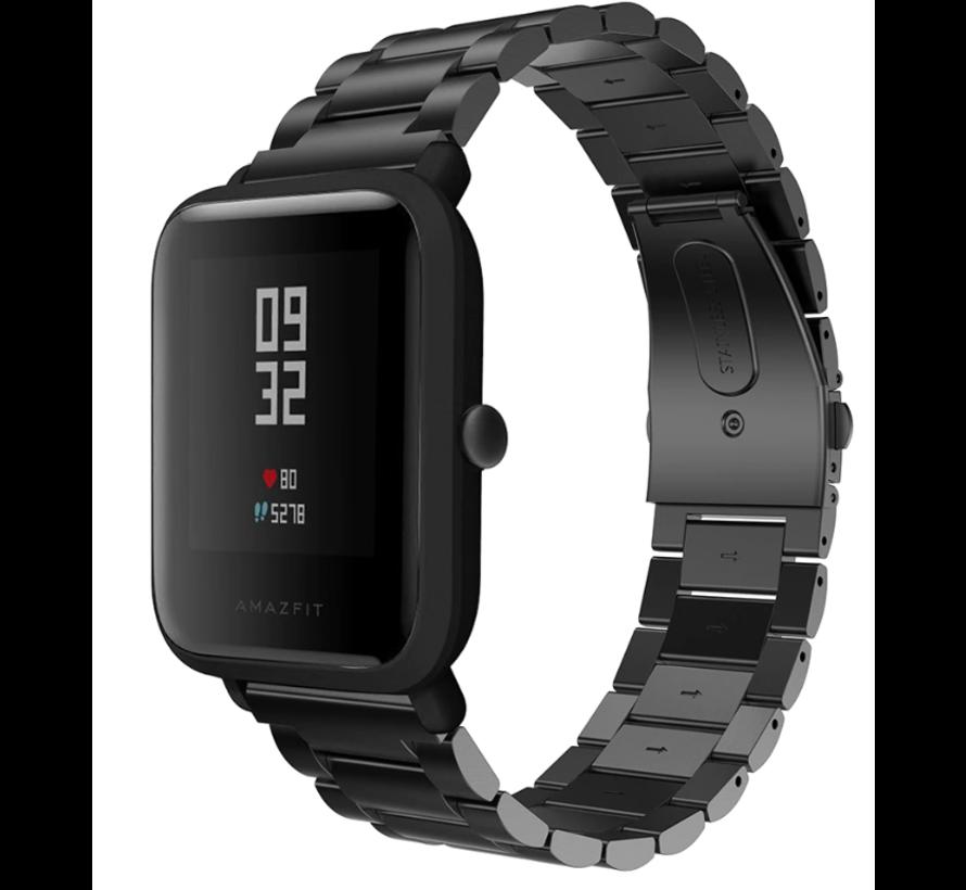 Strap-it® Xiaomi Amazfit Bip stalen band (zwart)