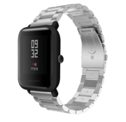 Strap-it® Xiaomi Amazfit Bip stalen band (zilver)