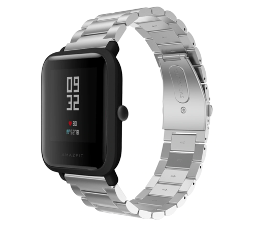 Strap-it® Strap-it® Xiaomi Amazfit Bip stalen band (zilver)