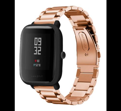 Strap-it® Strap-it® Xiaomi Amazfit Bip stalen band (rosé goud)