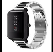 Strap-it® Xiaomi Amazfit Bip stalen band (zilver/zwart)