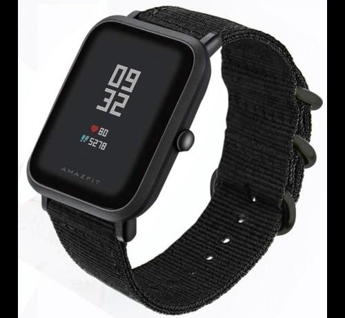 Strap-it® Strap-it® Xiaomi Amazfit Bip nylon gesp band (zwart)