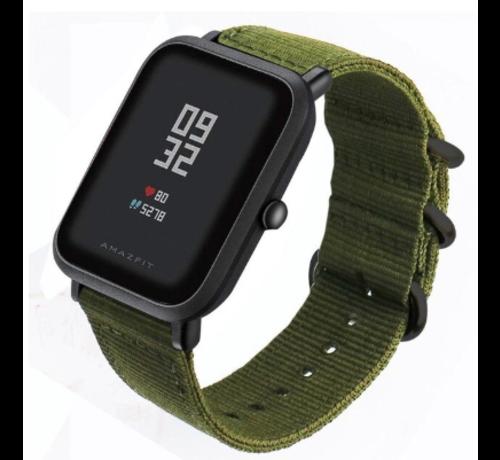Strap-it® Strap-it® Xiaomi Amazfit Bip nylon gesp band (groen)