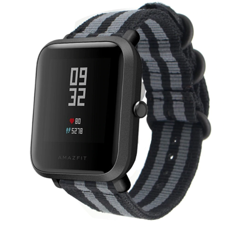 Strap-it® Strap-it® Xiaomi Amazfit Bip nylon gesp band (zwart/grijs)