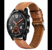 Strap-it® Huawei Watch GT leren bandje (bruin)