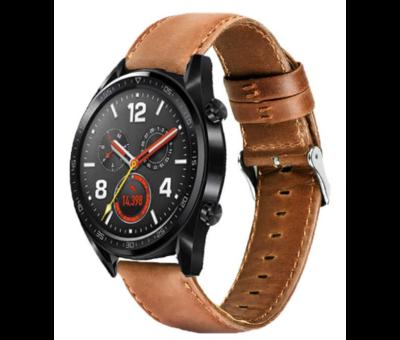 Strap-it® Strap-it® Huawei Watch GT leren bandje (bruin)