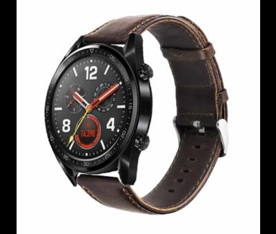 Strap-it® Strap-it® Huawei Watch GT leren bandje (donkerbruin)
