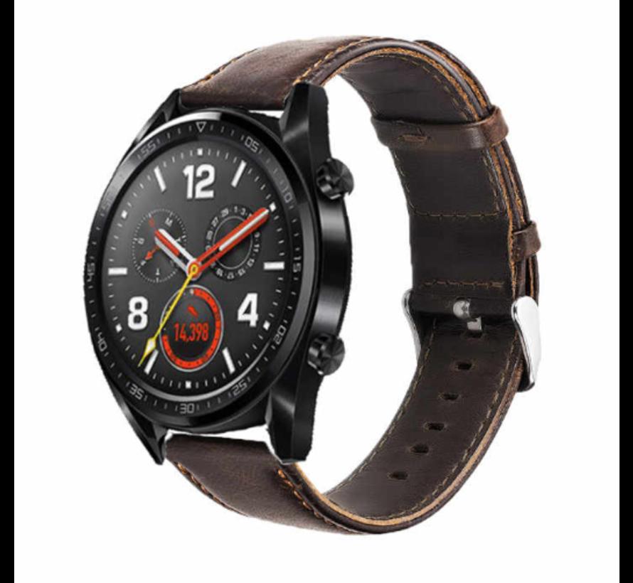 Strap-it® Huawei Watch GT leren bandje (donkerbruin)