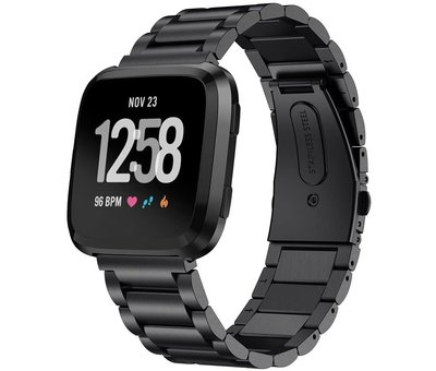 Strap-it® Strap-it® Fitbit Versa stalen bandje (zwart)