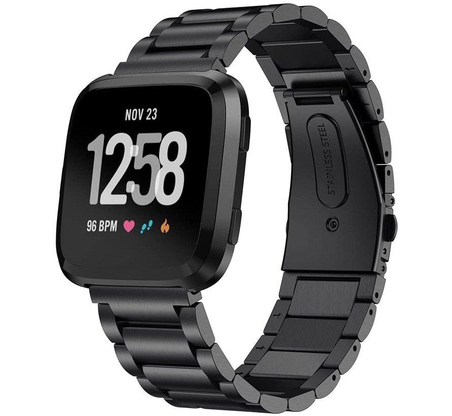 Strap-it® Fitbit Versa stalen bandje (zwart)