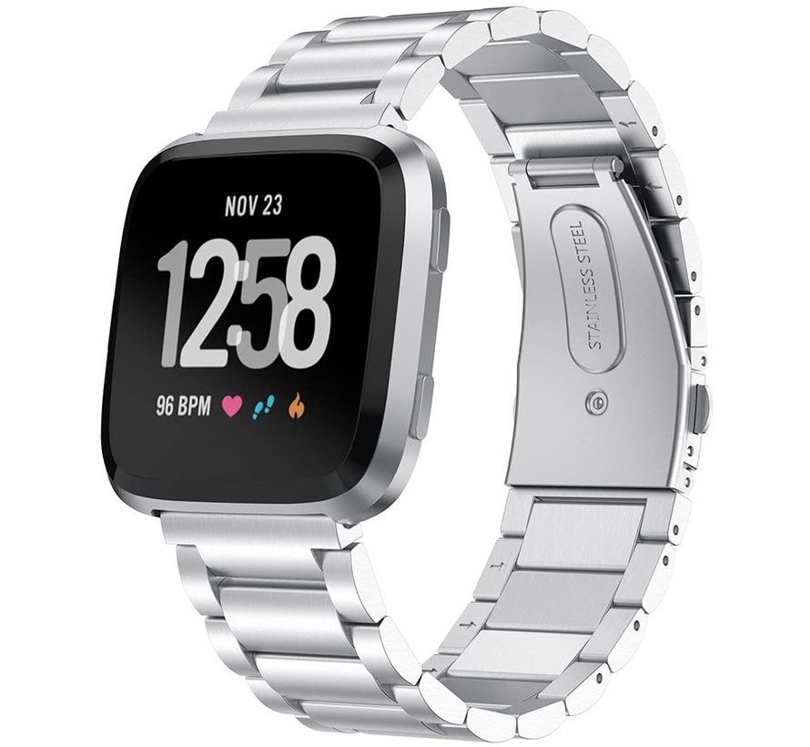 Strap-it® Fitbit Versa stalen bandje (zilver)
