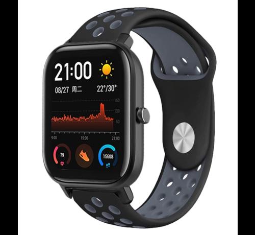 Strap-it® Strap-it® Xiaomi Amazfit GTS sport band (zwart/grijs)