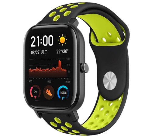 Strap-it® Strap-it® Xiaomi Amazfit GTS sport band (zwart/geel)