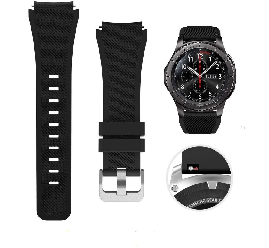Strap-it® Samsung Galaxy Watch siliconen bandje  45mm / 46mm (zwart)