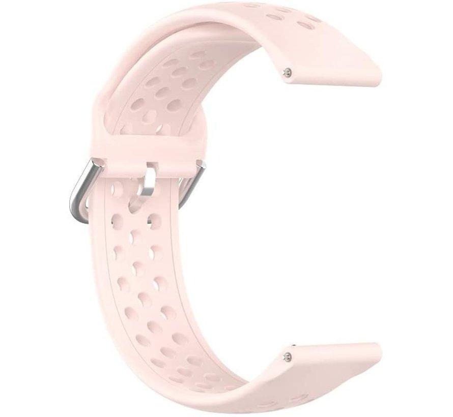 Strap-it® Garmin Vivoactive 4 siliconen bandje met gaatjes - 45mm - lichtroze
