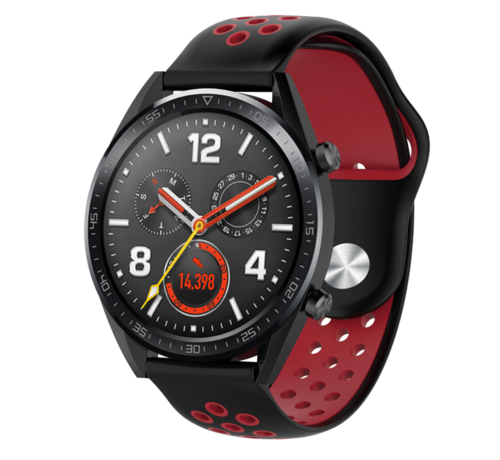 Strap-it® Strap-it® Huawei Watch GT sport band (zwart rood)