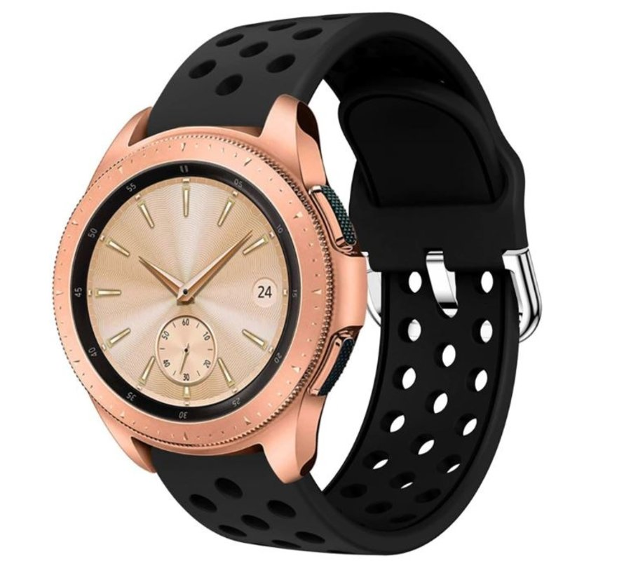 Strap-it® Samsung Galaxy Watch 41mm / 42mm siliconen bandje met gaatjes (zwart)