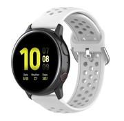 Strap-it® Samsung Galaxy Watch Active siliconen bandje met gaatjes (wit)