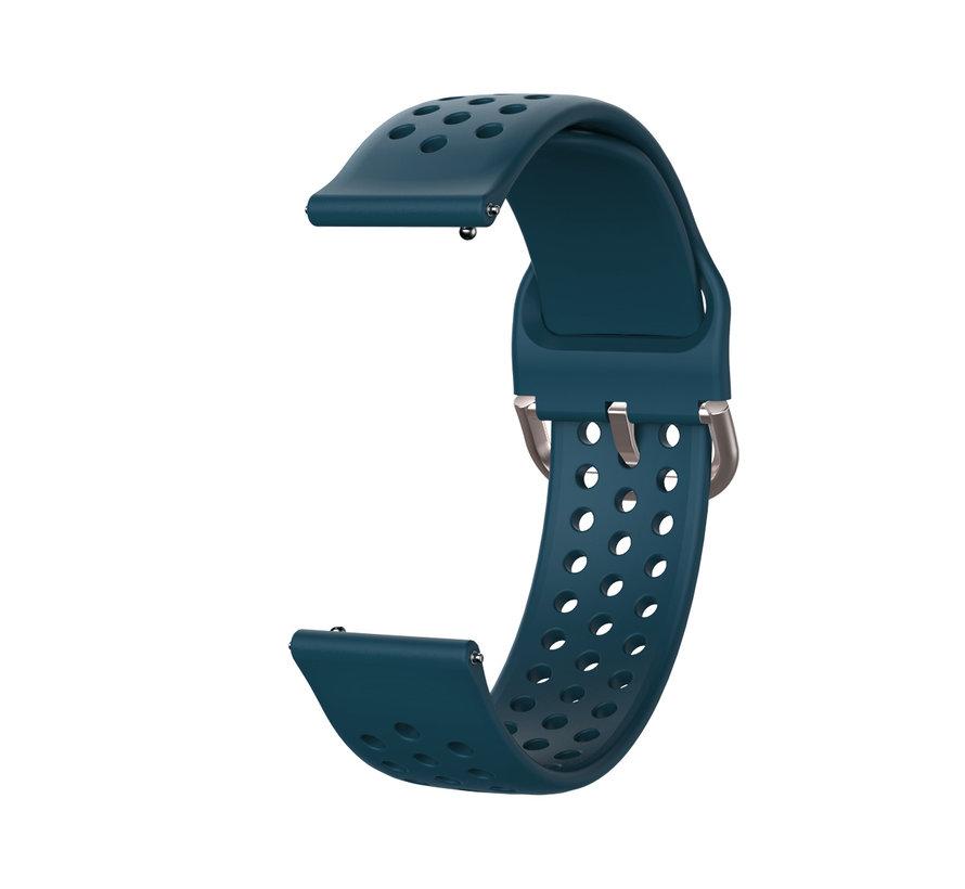 Strap-it® Samsung Galaxy Watch Active siliconen bandje met gaatjes (rock green)