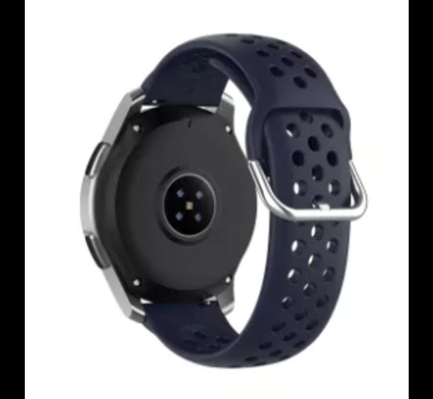 Samsung Galaxy Watch 45mm / 46mm siliconen bandje met gaatjes (donkerblauw)