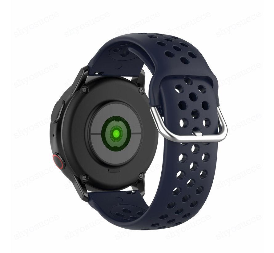Strap-it® Samsung Galaxy Watch Active siliconen bandje met gaatjes (donkerblauw)